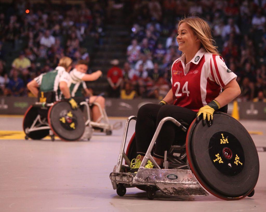 athletic girl in wheelchair