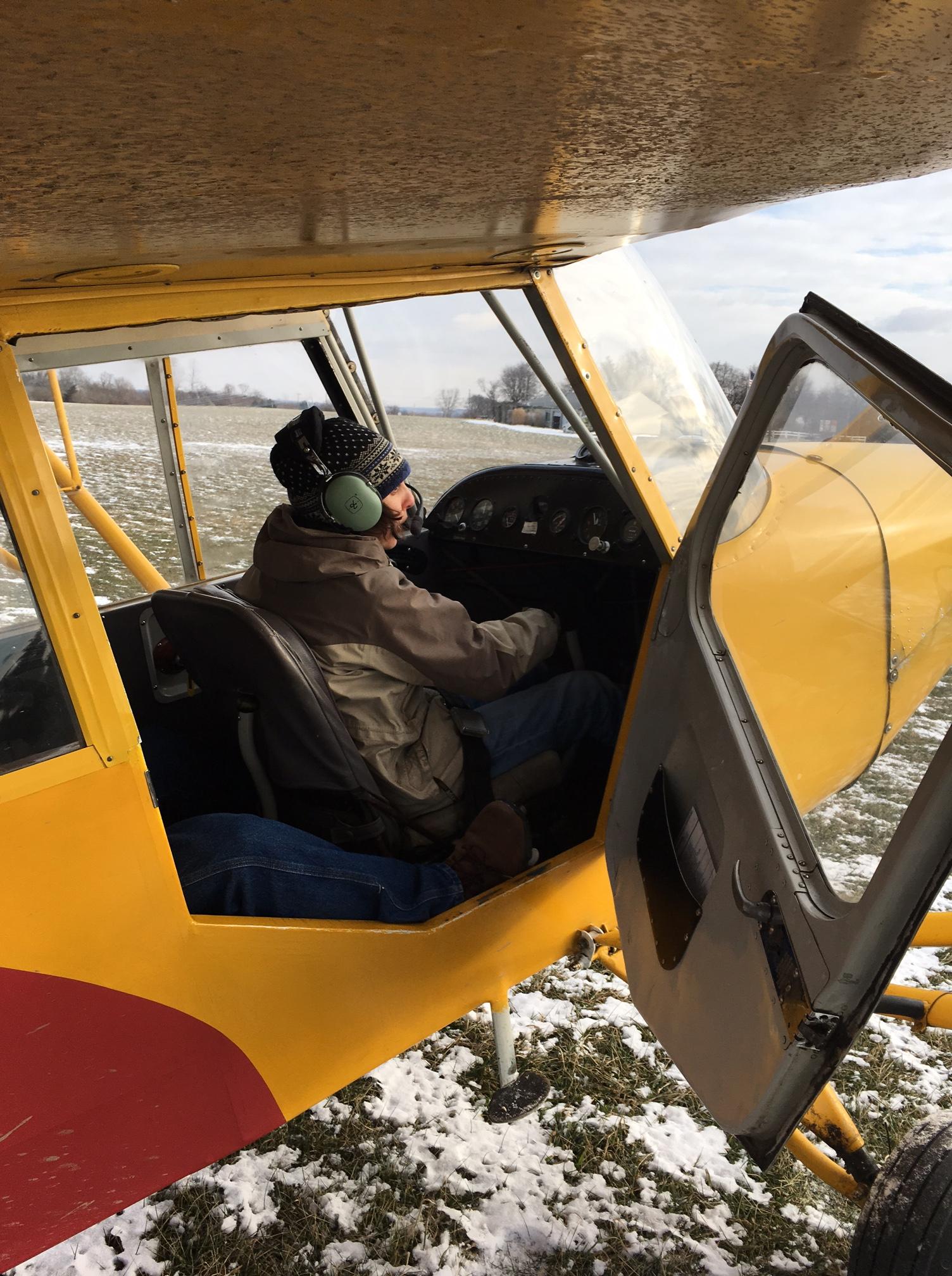 Photo of me in the cockpit of a 1946 trainer airplane