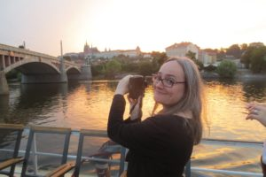 Photo of Jess Chaiken on a river cruise in Prague