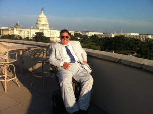 Photo of Mark Odum on the roof of the Department of Labor building
